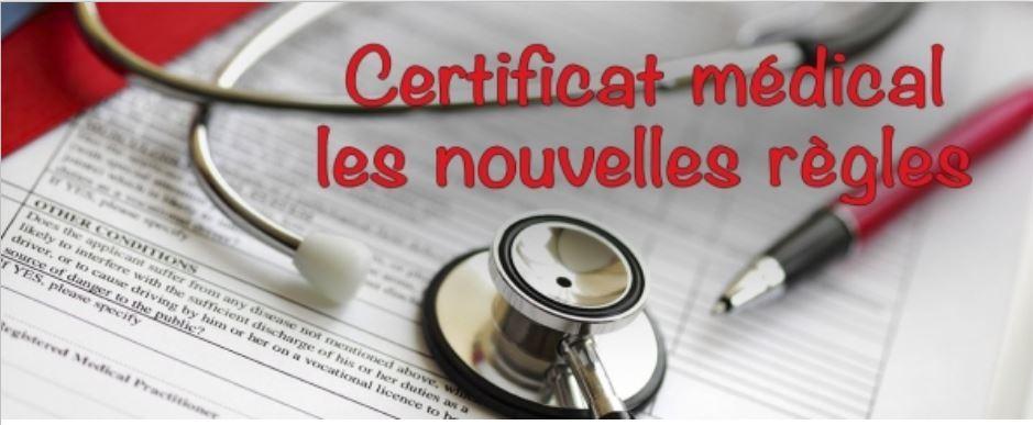 Le certificat médical évolue